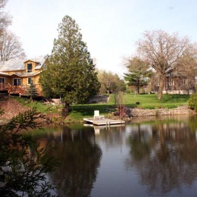 Studio, house and pond